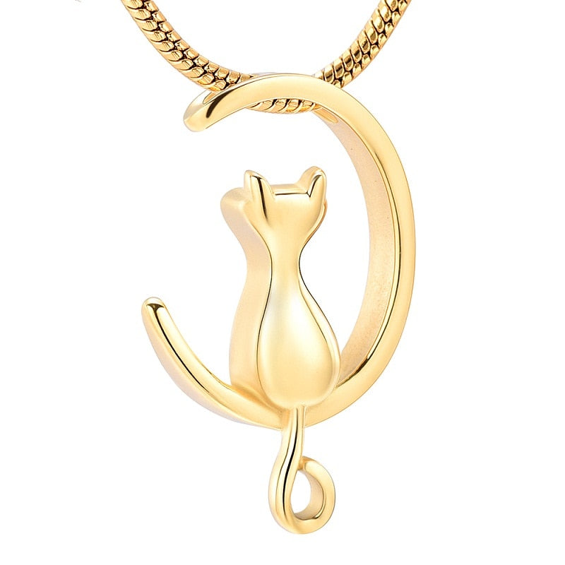 Guard My Cat Cremation Urn Necklace