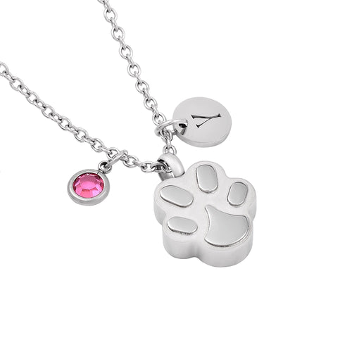 Mini Paw Shape Ashes Necklace With Birthstone Charm,