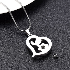 Paw Print Heart Cremation Urn Charm