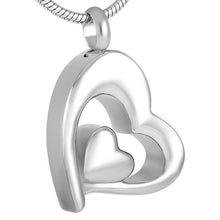 Double Heart Cremation Urn  Pendant