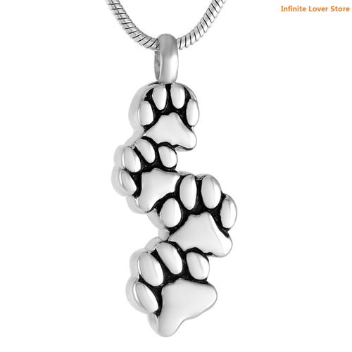Cute Dog Paws Cremation Urn Necklace
