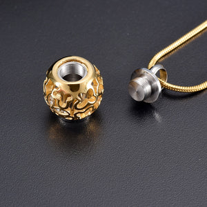 Classic Gold Flower Bead Cremation Urn Jewelry