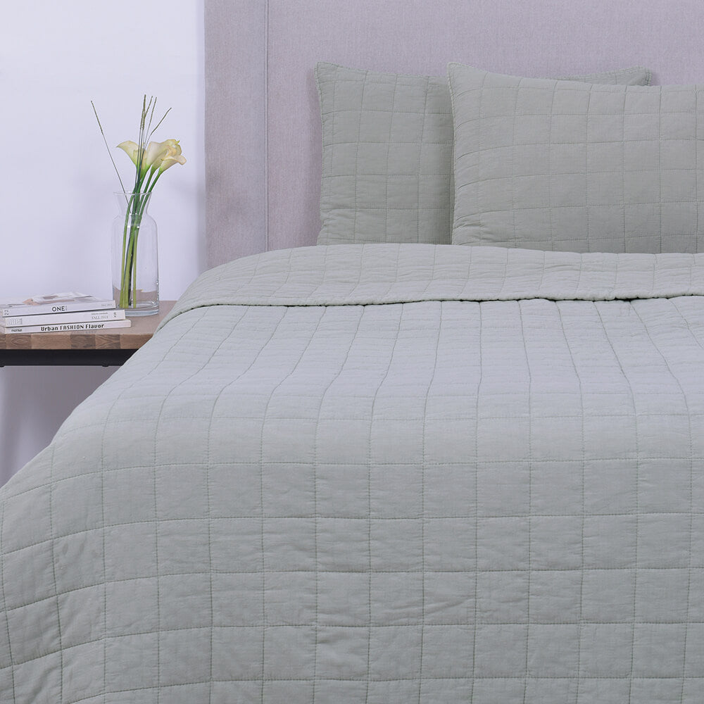 Cubrecama Quilt Stone Washed Cuadros Super King Verde