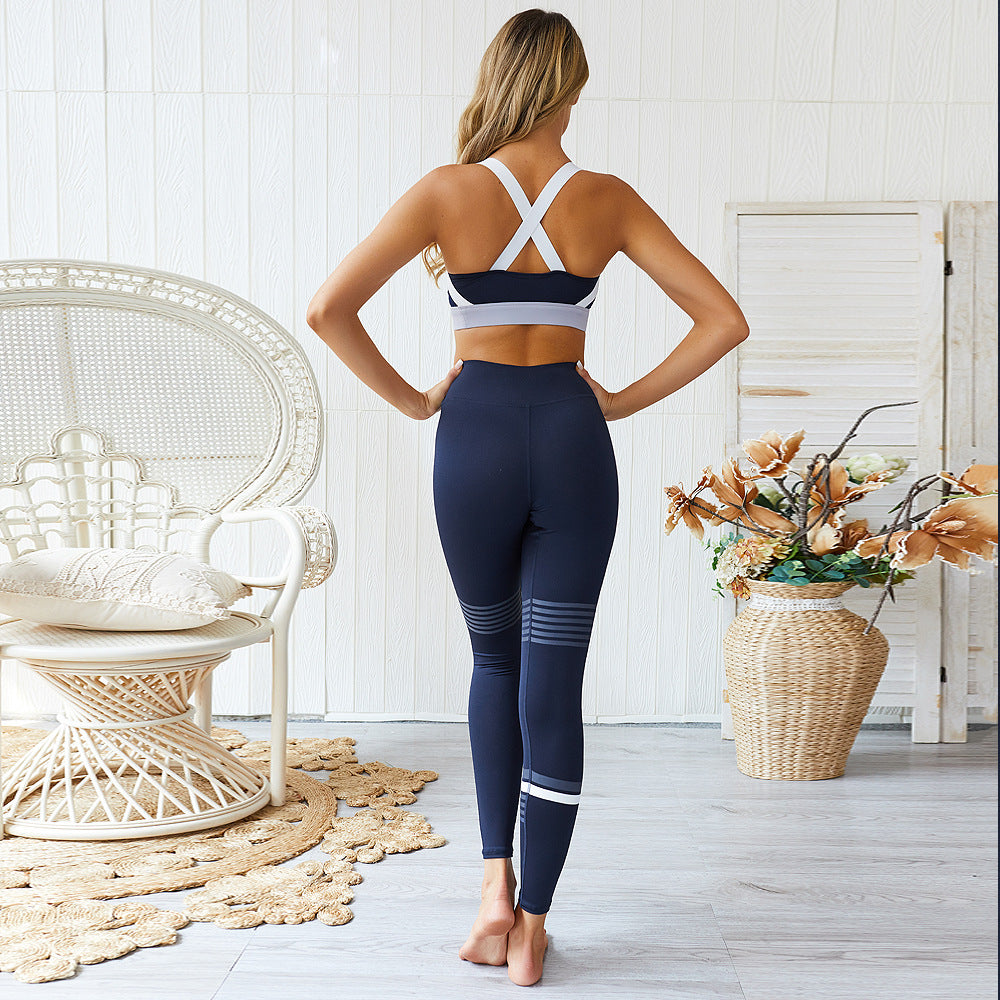 Yoga Gym Set Crossed Strap Blue/White