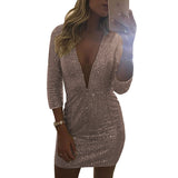 Elegant Deep V Neck three quarter sleeve mini womens sequin dress