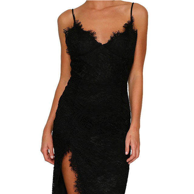 Women Dress Sexy Deep V Club Dress High Slit Lace Sling Dress