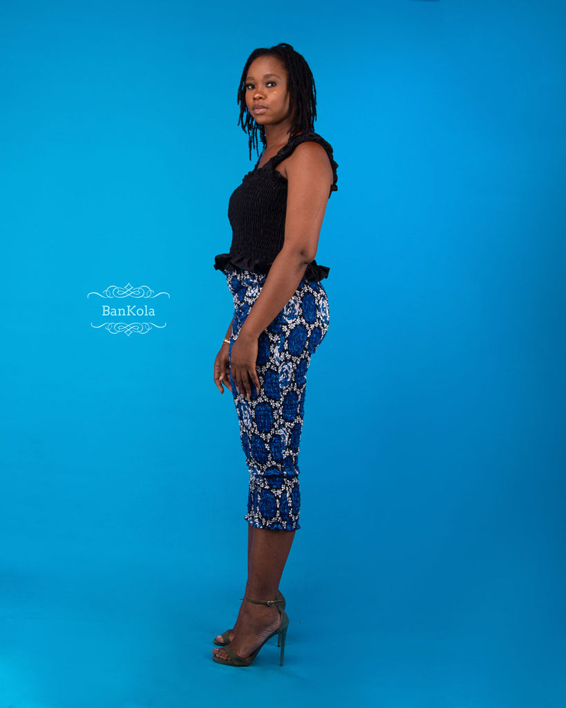 BanKola Ankara Blue Rose 3 Quarter Fitted Trouser & Top