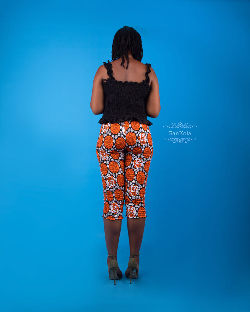 BanKola Ankara Orange Rose 3 Quarter Fitted Trouser & Top