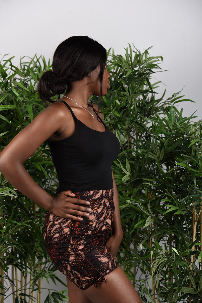 BanKola Ankara Brown Magnolia Leaves Bum Short