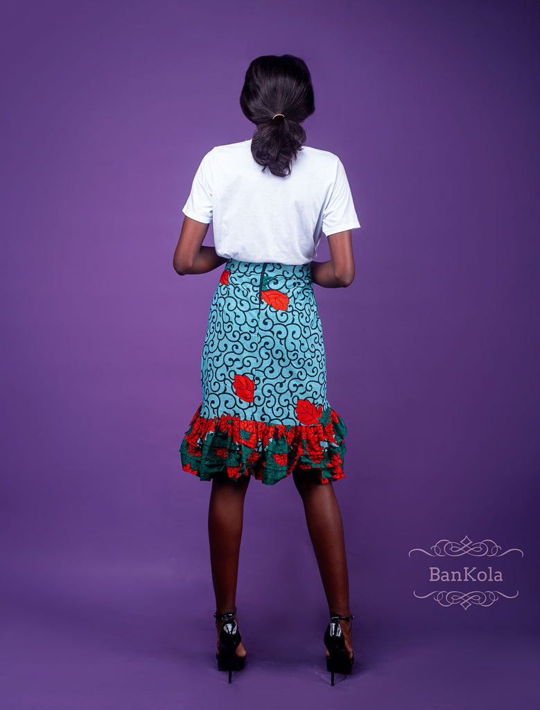 BanKola Ankara Short Skirts with Double Wave from waist down