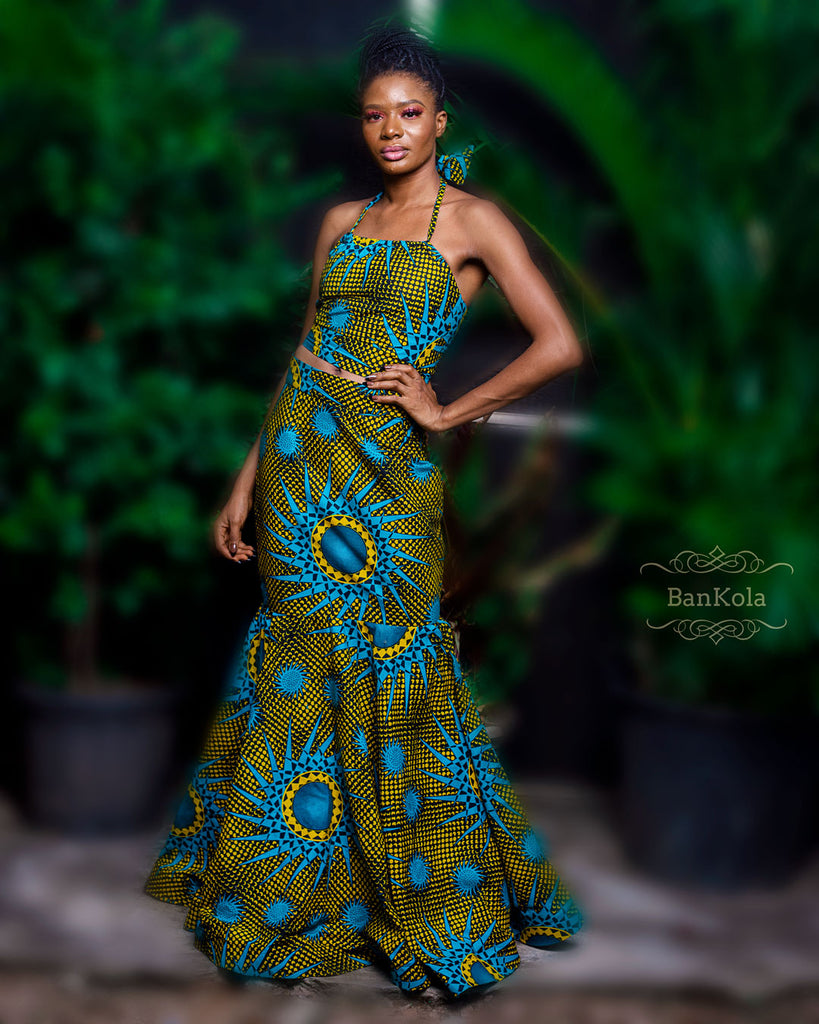 BanKola Ankara Spaghetti Blue Sun Top & Long Wide Spread Skirt