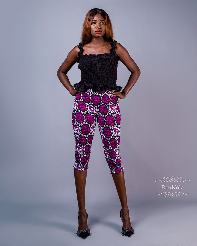 BanKola Ankara Purple Rose 3 Quarter Fitted Trouser & Top