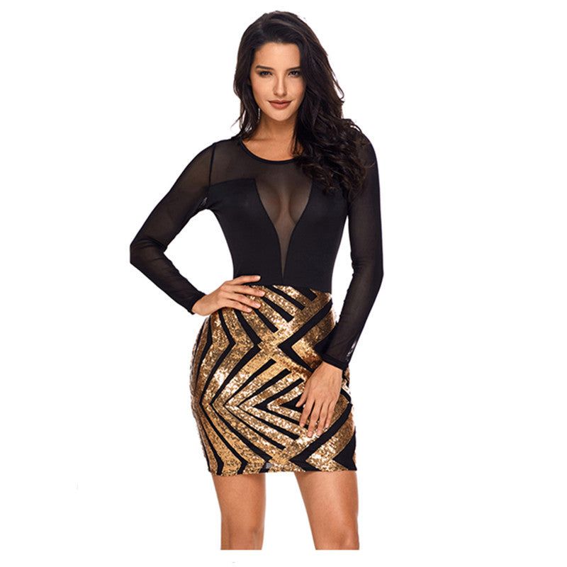 Gold/Black Long Sleeve Transparent Mesh Top Body-con Sexy Club Dress