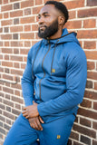 BanKola Tracksuit Dark-Blue Skinny Fit Raglan Sleeves Men Zipper Hoodies