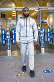 BanKola Tracksuit Grey Skinny Fit Raglan Sleeves Men Zipper Hoodies