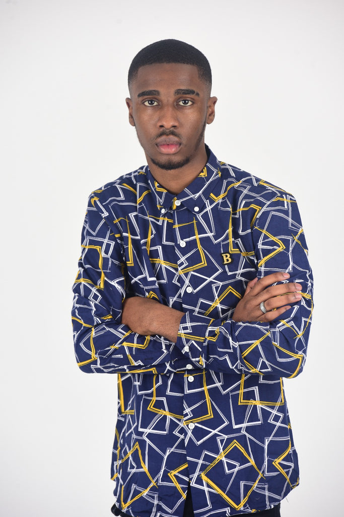 BanKola NAVY BLUE/ YELLOW SQUARE Long Sleeve Shirt