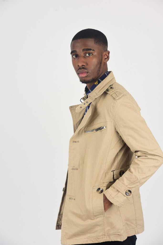 BanKola Men's Beige Classic Slim Fit winter Mac