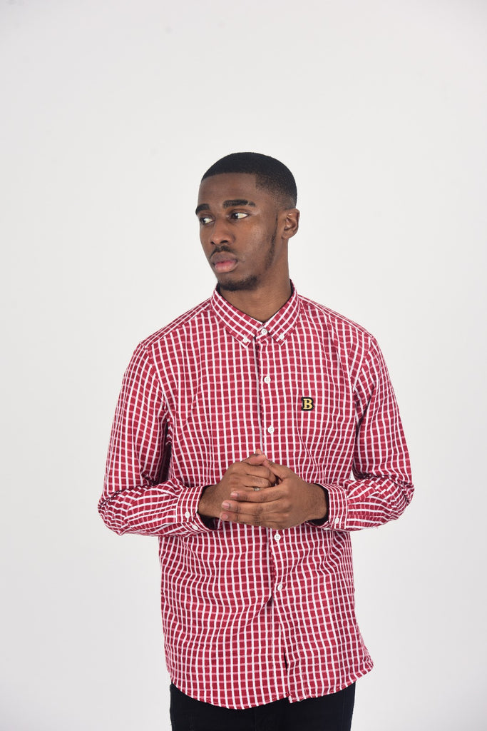 BanKola RED BLOCK CHECK Long Sleeve Shirt