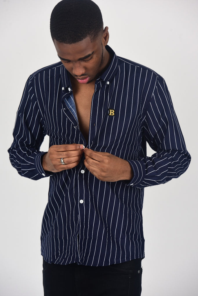 BanKola NAVY BLUE/ WHITE STRIPE Long Sleeve Shirt
