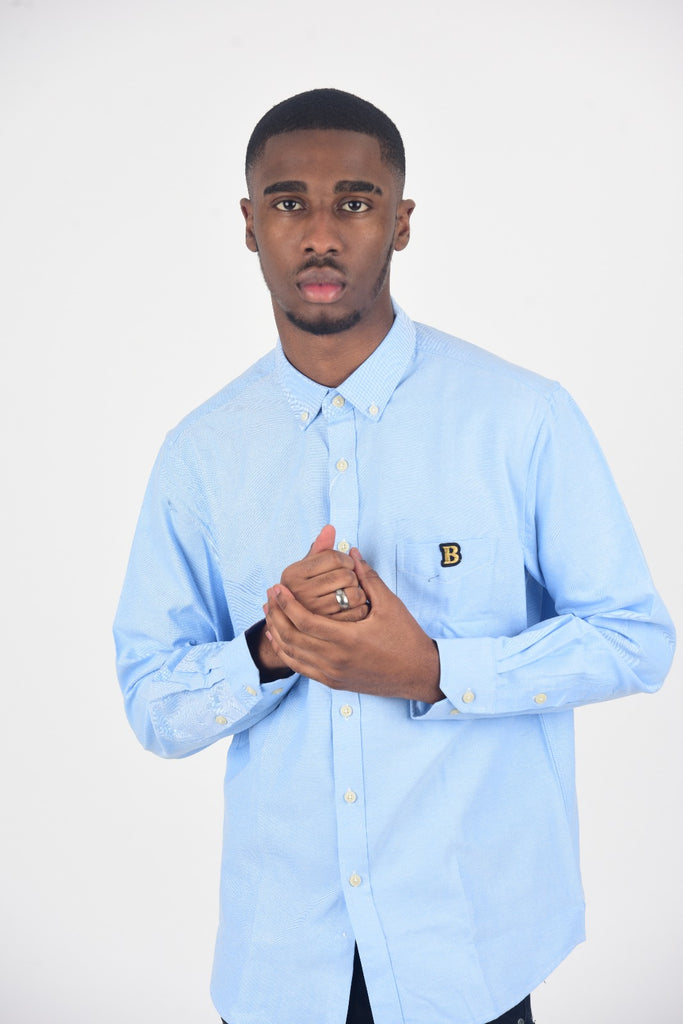 BanKola Men's Casual Slim Fit Blue Long Sleeve Solid Oxford Shirt