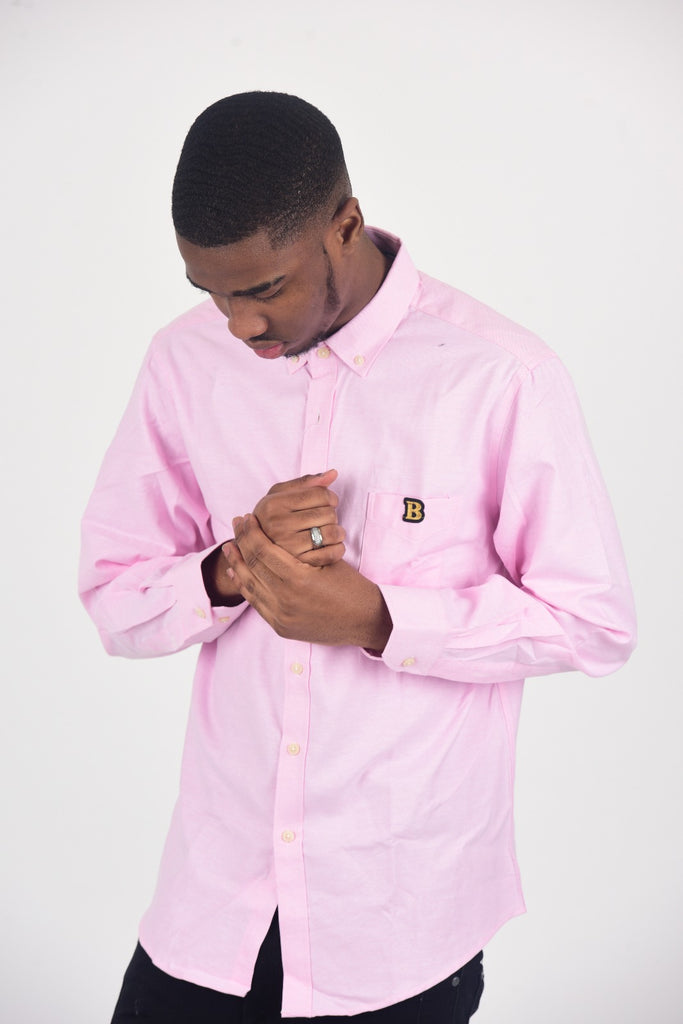 BanKola Men's Casual Slim Fit Pink Long Sleeve Solid Oxford Shirt