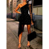 Black One Shoulder Sexy Mesh Party Dress