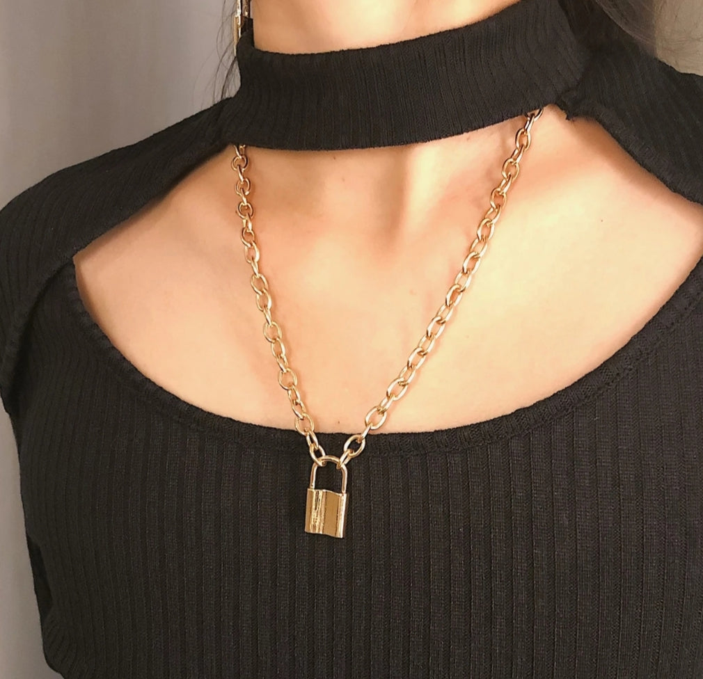 Gold Plated Lock Pendant Necklace - Miss Sunshine
