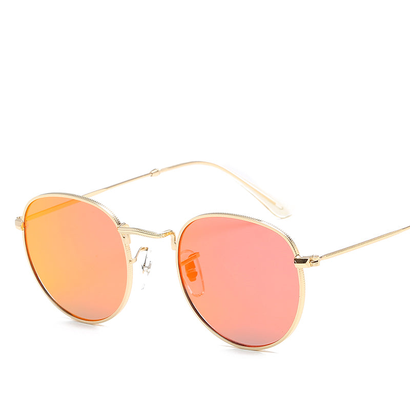 Red Light Lens Sunglasses Gold Metallic Frames