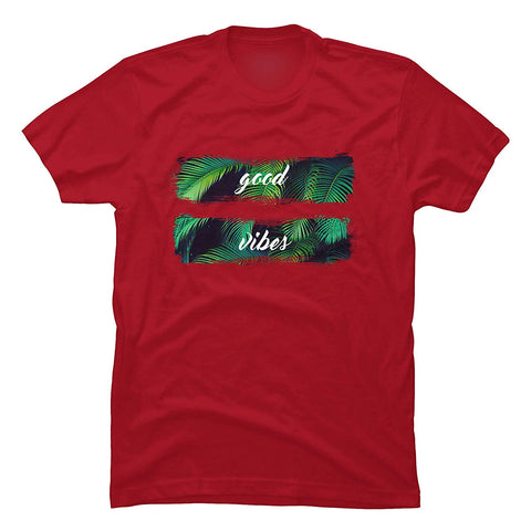 Good Vibes Men T with Palm Leaves Cotton