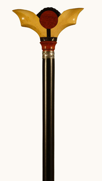 Collectable Ebony Wood Redwood and Boxwood Walking Stick 37 inches