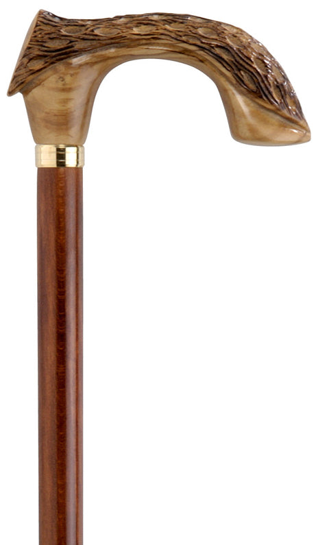 Carved Olive and Beech Wood Walking Cane
