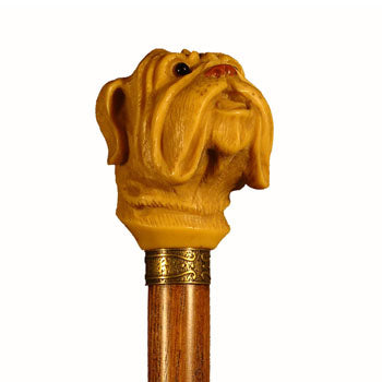 Cast Resin Bulldog Hardwood Collectable Walking Stick 37 inches