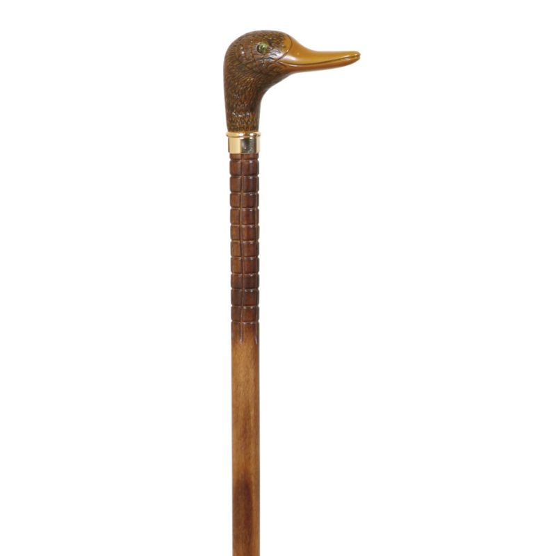 "Duck Head Handle Collectable Walking Stick Brown Beech Wood Cane Carved Wood 37"" 94cm"
