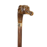 "Collectable Elephant Head Walking Stick Brown Beech Wood Cane Wood 37"" 1/2 95cm"
