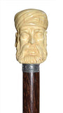 Certified Ivory Arabic Man Head Mounted on Iron Stick and Silver Ring