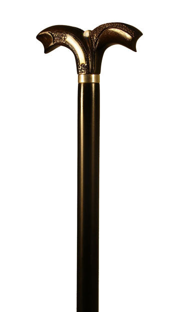 Ebony and Bone Handle Walking Stick with Sterling Silver Collar 37 inches