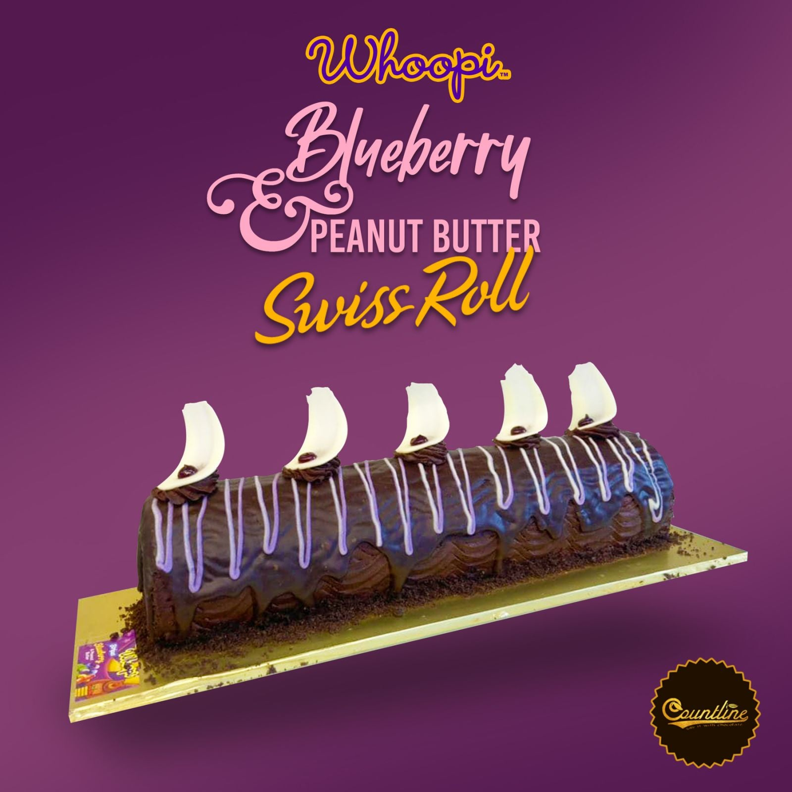Whoopi Blueberry & Peanut Butter Swiss Roll