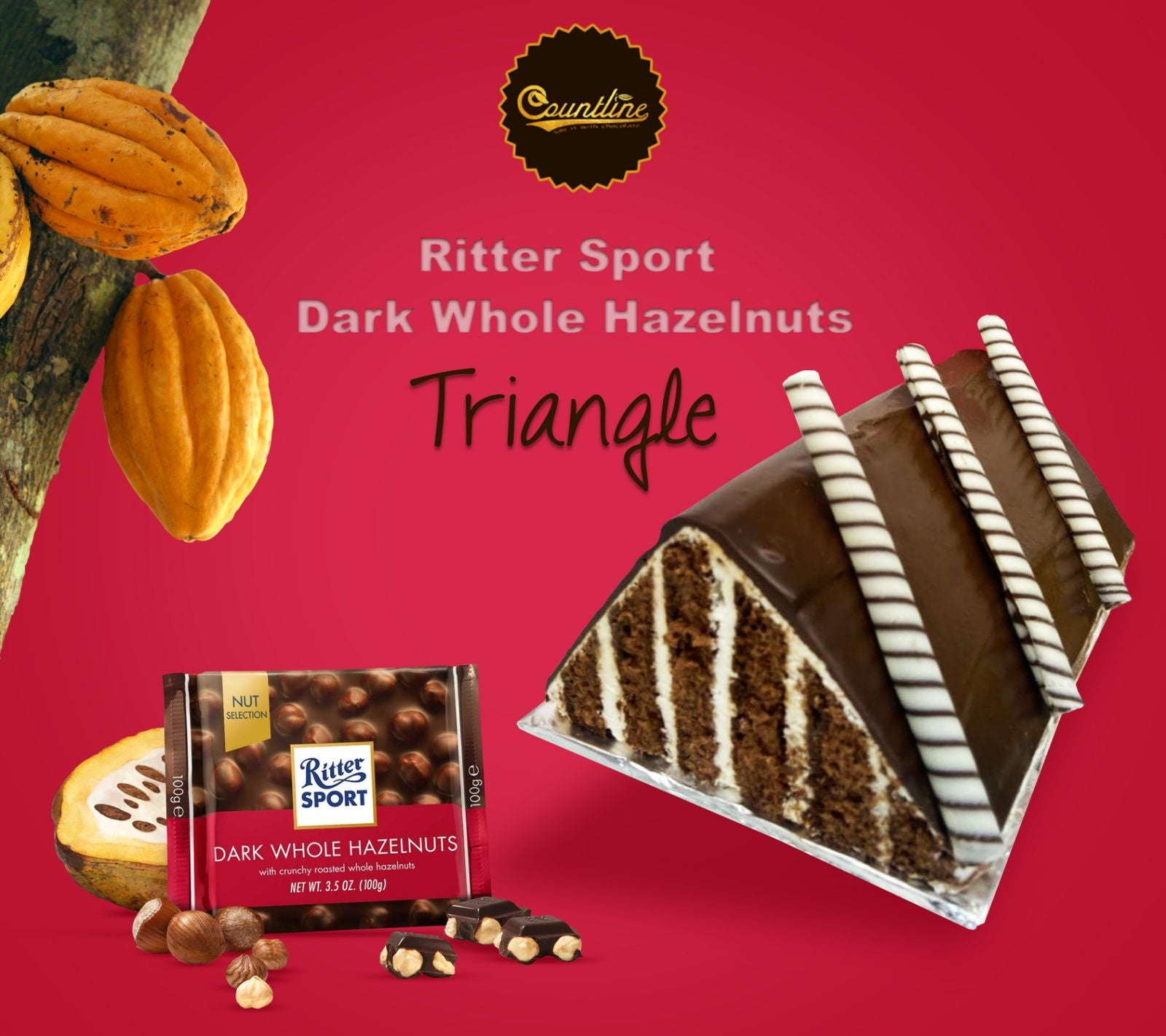 Ritter Sport Dark Whole Hazelnut Triangle