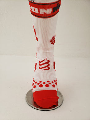 Calcetin Compressport Bco Rojo