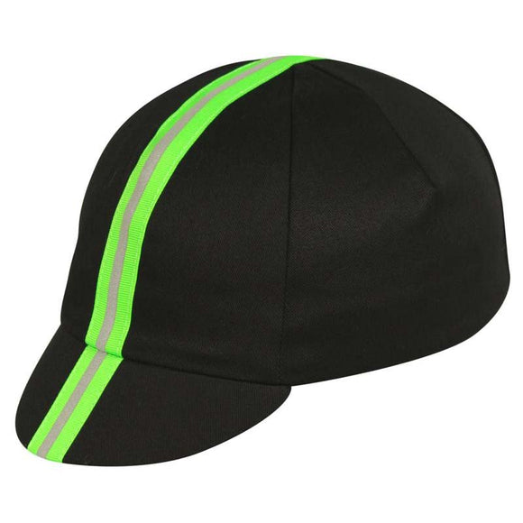 Pace - Traditional Cycling Cap (black w/reflective green)