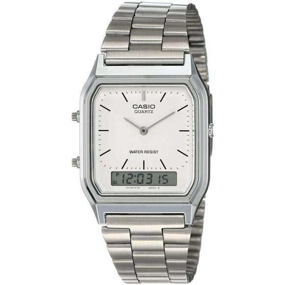 Spar King-Casio AQ230A7BMQYES Retro Herren-Armbanduhr Analog Digital Quarz Edelstahl 29 mm