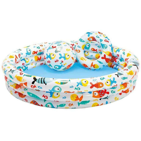 Spar King-Intex 59469 Fishbowl Pool Set Kinder Aufstellpool Planschbecken bunt 132 x 28 cm