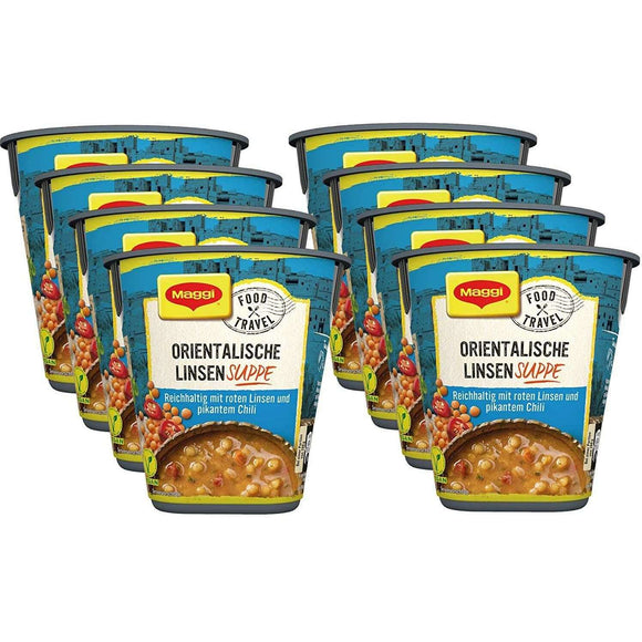 Spar King-Maggi Food Travel Cup Orientalische Linsensuppe Fertiggericht Suppe 8 x 48g