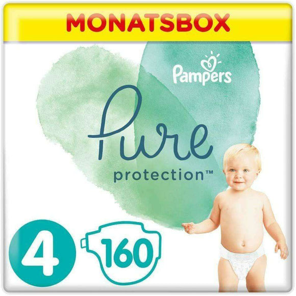 Spar King-Pampers Pure Protection Windeln Baumwolle Größe 4  9-14 kg Monatsbox 160 Windeln