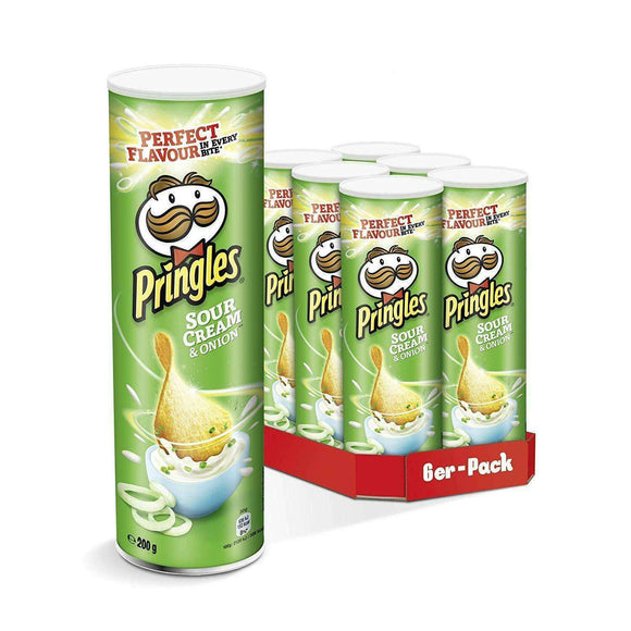 Spar King-Pringles Sour Cream & Onion Chips Knabbern Naschen Party 6 x 200g 6er Pack