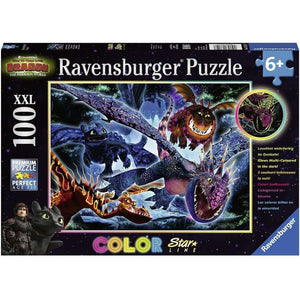 Spar King-Ravensburger 13710 Color Star Leuchtende Dragons Kinder Puzzle 100 XXL Teile