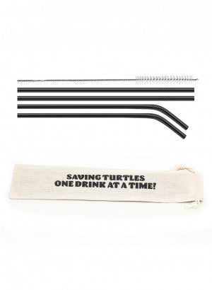 Reusable Drinking Straw Set - Saving Turtle