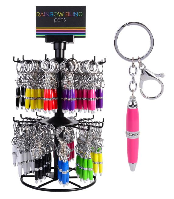 Rainbow Keyring Pen - Various Colours