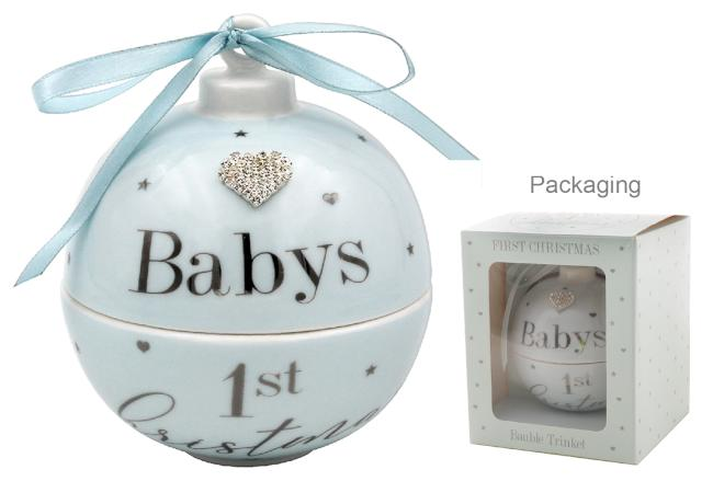 Baby's First Christmas Bauble Trinket - Blue