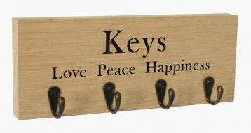 Woodcraft Key Hanger - Love Peace Happiness